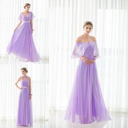 Chapeau réel long en Ligne-100% vraie image en mousseline de soie longue robe de demoiselle d'honneur 5 Styles lavande Cap manches Sash robe de soirée formelle robe Maid robe