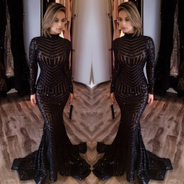 Wholesale Sequined Fishtail Prom Dress - Mermaid Black Sequin Dubai Evening Gowns 2017 New Style High Neck Long Sleeves Dresses Evening Wear Fishtail Train Prom Dress