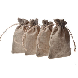 Wholesale Drawstring Gift Bag Paper - Double layer Natural Linen Drawstring bags Jute Gift Package Wedding Favor holder burlap Pouches hessian bags mobile power sack bags