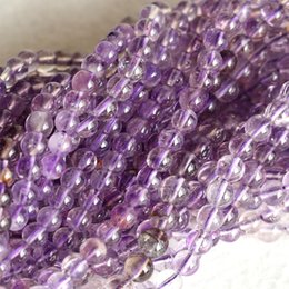 "Wholesale Super Melody Stone Bracelets - Genuine Natural Clear Purple Super Seven Super 7 Round Loose Small Beads Melody Stone Fit Jewelry Necklace Bracelets 16"" 04156"