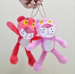 Wholesale Pink Stuffed Animals Cartoons - 18CM Leoute Pink Panther Plush Stuffed Baby Kids Doll Ball key chain Pendant poret clef for women Lovely Pink Panther pendant YYA610
