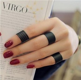 Wholesale Zipper Finger Ring - JZ103 fashion Black opening ring three ring high quality Midi Mid Finger Knuckle Ring Set