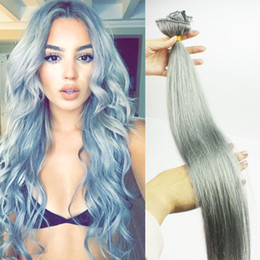 Wholesale Silver Clip Hair Extensions - #Grey Clips In Hair Extensions Silver 120gram Clip In Human Hair Peruvian Straight Clip In Human Hair Extensions