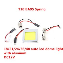 Wholesale 18 Led Panel - 48 led T10 COB ba9s spring ba15s 9W with Aluminum Car Auto Panel Festoon Interior Plate Dome LED 18 21 24 36 LED