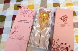 Wholesale Hand Made Wedding Card - Wholesale Great Valentine's day gifts,10 inch length,24k gold plate rose with grant card and bag,hand made gold rose,accept OEM 160401#
