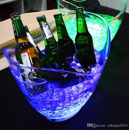 Wholesale Wholesales Beer Buckets - Free Shipping 4L Volume plastic led ice bucket single color,4L bars nightclubs LED light up ice bucket Champagne wine beer bucket bars