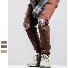Wholesale Retro Knives - Mens Destroyed Pants Knife Damaged Hole Deasign Fashion Retro Pants 2016 New Tide Brand Solid Color Hip Hop Rock Star Punk Pants