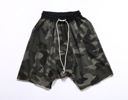 Wholesale Korean Camo - Wholesale-korean hip hop fashion urban clothing mens joggers fear of god black grey camo camouflage sweatpants dress harem pants