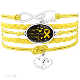 Wholesale Infinity Love Pcs - (10 PCS lot) Cure Childhood Cancer Awareness Butterfly Ribbon Heart To Heart Charm Infinity Love Leather Wrap Bracelet for Men Women Jewelry