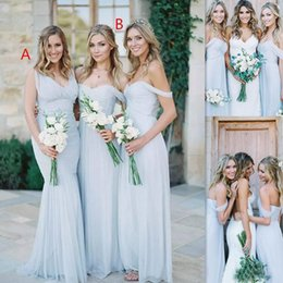 Wholesale Ice Pink Wedding Dress - Beach Bridesmaid Dresses 2017 Ice Blue Chiffon Ruched Off The Shoulder Summer Wedding Party Gowns Long Cheap Simple Dress For Girls