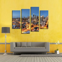 Wholesale Lighted Wall Art Panels - 4 Panel Canvas Art Wall Art Painting Skyscrapers With Gloden Light At Night Picture Print On Canvas City