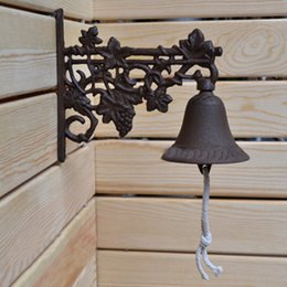 Wholesale Bells Stores - Country Rustic Grape Door Bell WELCOME Dinner Bell Cast Iron Wall Decorative Bell for Home Bar Shop Store Antirust Free Shipping