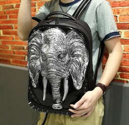 Wholesale Silicone Male Body - Factory direct Shipping rivet Free 3D silicone elephant punk backpack personality creative Street casual upscale PU male punk Backpack