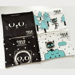 Wholesale A5 File - Wholesale-Y27 Kawaii Lovely Oreo Cat Oxford A5 Pen File Bag Document Storage Organizer Student Stationery School Supply Birthday Gift