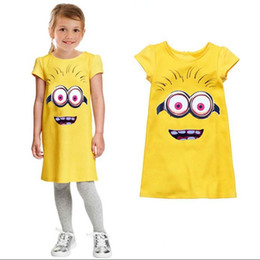 Wholesale Minion Clothes - 2016 Popular Despicable Me Minions Children Dress Yellow High Quality Baby Girls Clothes Short sleeve Coats Spring Autumn Kids Clothing