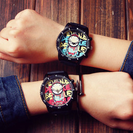 Wholesale Stylish Boys Watches - Wholesale-Fashion Graffiti Stylish Big Dial Rubber Strap Japan Core Quartz Analog Wrist Watch Hours Gift for Men Male Boy