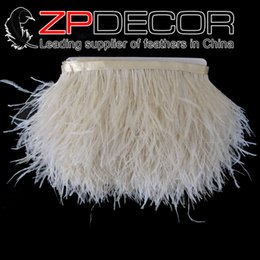 Wholesale Wholesale Ostrich Feather Trim - Superior Exporting ZPDECOR Factory 10-15cm(4-6 inch)Premium Quality Bleached Ivory Ostrich Feather Trim Cheap Sale for Wedding Dress