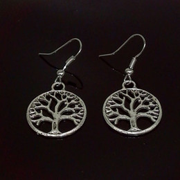 Wholesale Antique Fish Plates - Antique Silver Tree Of Life Charm Earrings 925 Silver Fish Ear Hook Chandelier