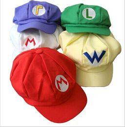 Wholesale Mario Hat Cartoon - Super Mario Bros Anime Cosplay Cap 5 Colors Supermario Octagonal Cap Baseball Hats Adult Cartoon Hat jy292