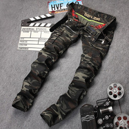 Wholesale Camouflage Stretch Pants - Men's casual camouflage pockets skinny biker jeans Male zippers military style army green slim stretch denim pants Long trousers