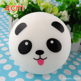 Wholesale Charm Phones - Free Shipping Cute 4cm Panda Squishy Kawaii Buns Bread Charms Bag Key Cell Phone Straps Pair Random Soft Panda Squishy Bread Semll