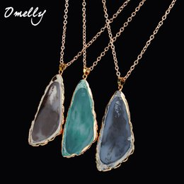Wholesale Drop Triangle Necklaces - New Arrivals Triangle Stone Pendant Necklace Charms Oval Water Drop Pendant Jewelry for Men Women Christmas Gift