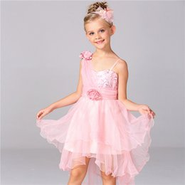 Wholesale Pearl Suspenders - Girls dress Kids clothes high quality Girls strapless pearl belt with long trailing gown wedding dress B0489
