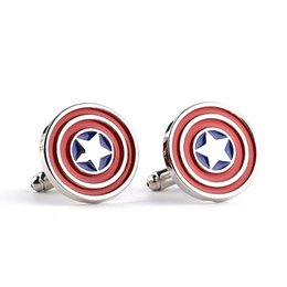 Wholesale America Gift - The Avengers Captain America 3 civil war Steve Shield French Cuff Links Shirt Brand Cuff Buttons Party Enamel Fine Cufflinks For Mens Gifts