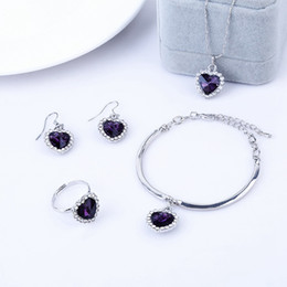 Wholesale Set Crystal Earring Neoglory - Neoglory Platinum Plated Austrian Crystal Heart Wedding Jewelry Sets Bridemaid Gift Rhinestone 2016 New Charm Brand Bracelet Ring Earrings