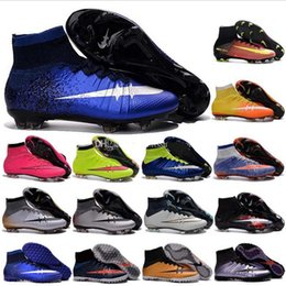 Wholesale Black Tops Spikes - Newairl kids soccer shoes for boys mercurial superfly fg cr7 sock boots football womens mens high tops ronaldo ankle indoor soccer cleats