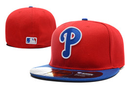 Canada Phillies On Field Style Baseball Fitted Chapeaux Couleur Rouge Lettre Minuscule p Symbole Broderie Équipe Sportive Plein Fermé cheap red fitted hats Offre