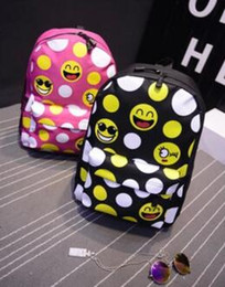 Wholesale Nylon Zipper Manufacturers - Free shipping manufacturers selling 2016 fashion nylon backpack Graffiti bag tide female cartoon smiling face students travel bag