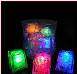 Wholesale Led Ice Cubes Lights Wholesale - Mini Ice Cubes Romantic Luminous Cube LED Artificial Ice Cube Flash LED Light Wedding Christmas Decoration Party Aoto Color