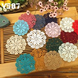 Wholesale Vintage Crochet Table Mats - Wholesale-5Pcs 10cm Handmade Cotton Hollow Round Table Mat Vintage Floral Hand Crochet Doily Cup Pads Doilies Crochet Placemat Coasters