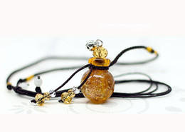 Wholesale Oil Diffuser Pendant Glass - Vintage glass diffuser necklaces Sands beads aromatherapy oil bottle necklaces gourd ornaments Glow Necklaces free shipping