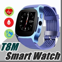 Wholesale V Cameras - T8M Blood Pressure Heart Rate Smartwatch 4.0 Bluetooth Fitness Tracker For Android IOS With Camera SIM TF Card Retail Package V-BS