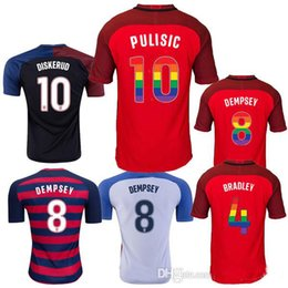 Wholesale Rainbow Jersey - Thai quality 2017 2018 USA soccer jersey shirt third red Rainbow lettering Football shirt 17 18 PULISIC USA Camiseta DEMPSEY maillot de foot