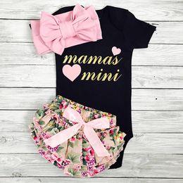 Wholesale Children Mini Set - Spring Autumn Children INS Sets Baby Girl Long Sleeve Mamas Mini Letter Print Romper + Floral Print PP Pants +Headbands 3pcs Suits