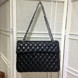 Wholesale Quilted Leather Handbag Black - Fab Price XLarge Classial 33CM Maxi Black Genuine Leather Quilted Double Flap Fashion Shoulder Chain Bags Handbags Hardware