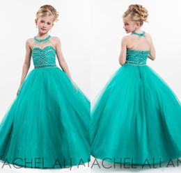 Wholesale Size 13 Cheap Dresses - 2016 New Cheap Hunter Girls Pageant Dresses Tulle Jewel Neck Crystal Beaded Long Princess Size 13 Party Children Birthday Flower Girl Gowns