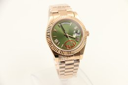 Wholesale Green Glass Watch - Luxury Brand new watch men day date daydate sapphire glass green dial 18k golden watch Automatic Watch Mens Watches
