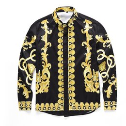 Wholesale Gold Chain Top - Wholesale- 2017 Medusa Shirt Men Spring Autumn Harajuku Medusa Gold Chain Dog Rose Print Shirs Retro Floral Long Sleeve Patchwork Men's Top