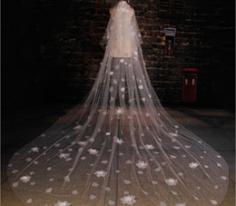 Wholesale Wholesale Cathedral Wedding Veils - Free shipping wedding veils hair accessories for bride Korean aesthetic water droplet flower has a long tail 3.5M wholesale