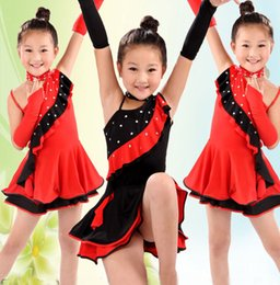 Wholesale Tango Dresses For Dance - Children Latin Dance Dress Sequins Tassels Girl Dress For Latin Dancing Girls Stage Dancewear Tango Dresses Ballroom Costume