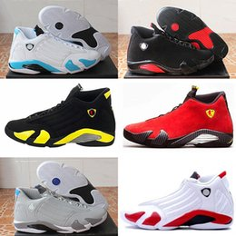 Wholesale Black Varsity - Hot 2018 cheap shoes 14s trainers basketball shoes last shot black toe thunder gs red suede Varsity Red Oxidized Sport sneaker boot