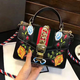 Wholesale Embroidered Leather Shoulders Bags - women famous brand Sylvie Three-color shoulder strap bag luxury designer Embroidered bag leather handbags high quality crossbody bags