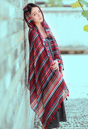 Wholesale Wholesale Designer Scarfs - Hot designer ethic geometric printing women fashion winter autumn scarf travelling shawls sarong red blue 90x180cm