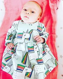 Wholesale Rainbow Ball Gowns - ins xmas infant baby full print blue unicorn cotton dress kids cartoon full rainbow horse print dresses 0-2Years