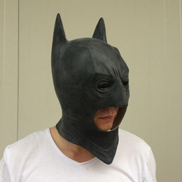 Wholesale Adult Latex Hood - on sale Cosplay Batman Masks Dark Knight Adult Full Head Batman Latex Mask Hood Silicone Halloween Party Black Mask Supper Hero Costume