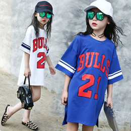 Wholesale Loose T Shirts For Girls - Girls T-shirt 2017 Summer New Long Style Kids Top Clothes 21-Letter Striped Baseball Shirts for Girl Short Sleeve Loose Clothing